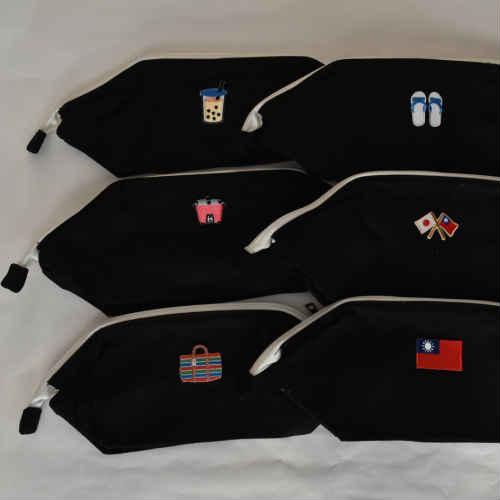 ポーチ 小物入れ ポシェット キャンパスワイヤーポーチ 台湾モチーフ 刺繍ワッペン 12オンス コットン ブラック 台湾雑貨 台湾レトロ